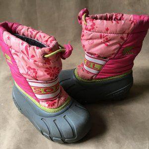 Sorel Pink Floral Bunge Ankle Winter Snow Boots